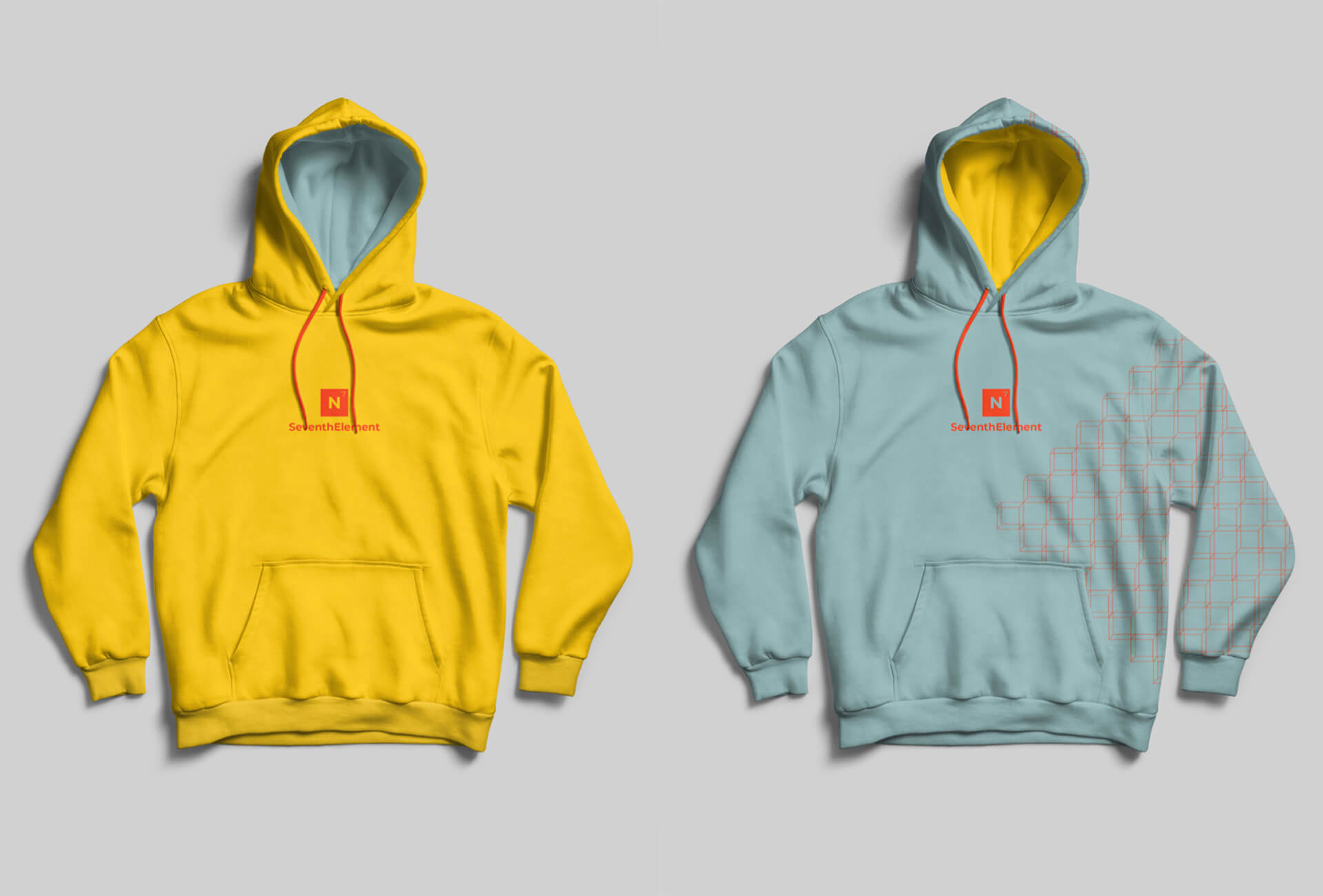 Branded hoodies: yellow represents boosting and fuelling and blue for growth and nourishment